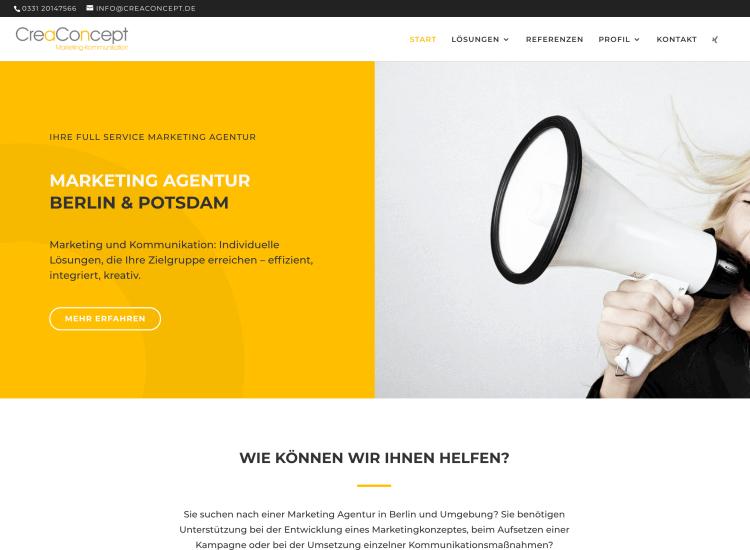 WordPress Webdesign Berlin - WordPress Website fuer CreaConcept Marketing Agentur in Potsdam und Berlin